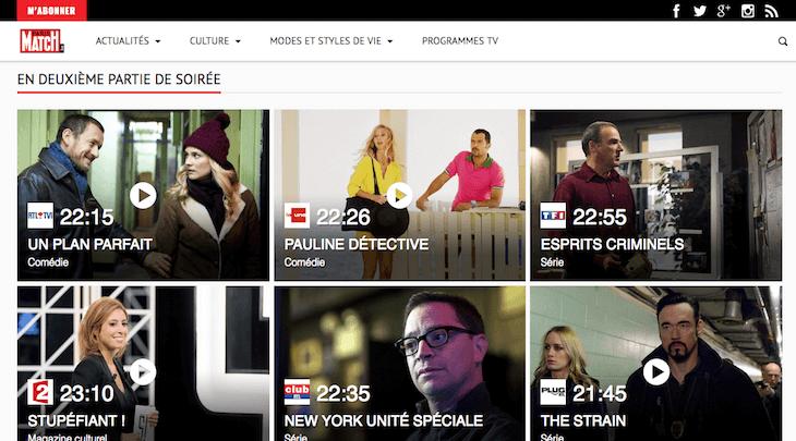 Création site internet Programme télé de Paris Match