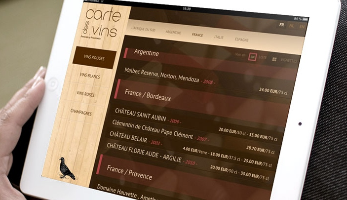 Cr�ation site internet Carte des vins